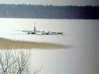 Exin - Antonov An-26 on the ice of Lake Ülemiste.