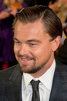 A photograph of actor Leonardo DiCaprio at the premiere of the film The Wolf of Wall Street
