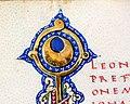 Leonardo bruni, oratio in funere iohannis strozze, firenze 1450-75 ca. (bml, pluteo 52.5) 03 crescente dello stemma strozzi.jpg