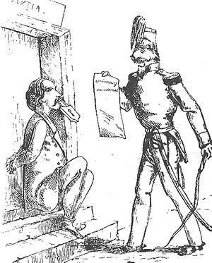 Scarlat Vârnav - 1859 cartoon mocking the censorship laws enforced under Alexandru Ioan Cuza