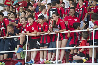 Lincoln Red Imps F.C. - Lincoln Red Imps fans at the Victoria stadium in 2014