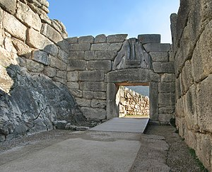 Mycenae - The Lion Gate at Mycenae, the only known monumental sculpture of Bronze Age Greece