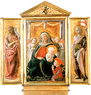 Triptych of the Madonna of Humility with saints - Image: Lippi, trittico madonna