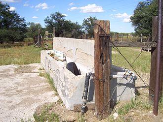 Manger - Modern livestock trough near Empire Ranch, Arizona.
