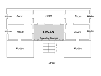 Liwan - An architectural drawing of a typical Levantine house, with the liwan area in grey.