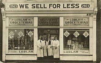 Loblaw Companies - Loblaw Groceterias Limited, store No. 1, 2923 Dundas St. W., Toronto, Ontario, postcard, ca. 1919.
