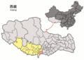 Location of Kangmar within Xizang (China).png