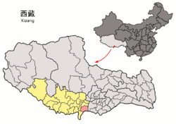 Location of Kangmar County (red) within Xigazê (yellow) and the Tibet A.R.