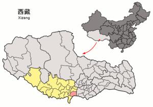 Kangmar County - Image: Location of Kangmar within Xizang (China)