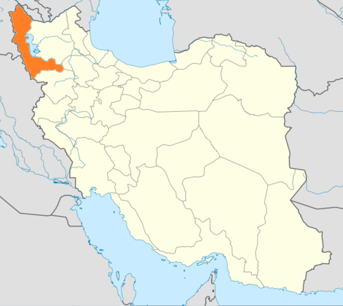 Location of West Azerbaijan within Iran - West Azerbaijan Province