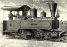 Locomotive compound desservant la voie Decauville à l'Exposition universelle de 1889 (Louis Lucien Baclé).png