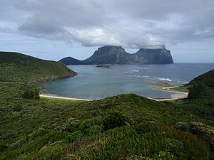 Lord Howe Island Marine Park - View of the lagoon from Mount Eliza. The lagoon forms the majority of the Lord Howe Island Marine Park