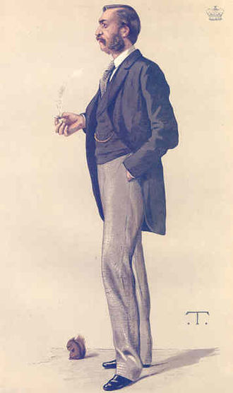 """a Naturalist"" Lord Walsingham as caricatured by T in Vanity Fair, 9 September 1882. Lord Walsingham Vanity Fair 1882-09-09.jpg"