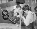 Los Angeles, California. Aircraft Schools. Two boys working on a riveting sampler as a problem on which they will be... - NARA - 532182.tif