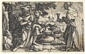 Lot and his daughters- a daughter at center rests her right arm on Lot's knee and a vessel on her thigh, at right a daughter holds a goblet in her outstreched right hand, from a series of ten Old Testament scenes MET DP828540.jpg
