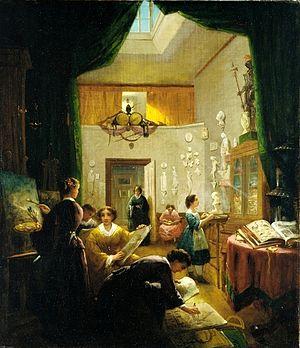 Louis Lang - Image: Louis Lang (1814 1893) Womens' art class