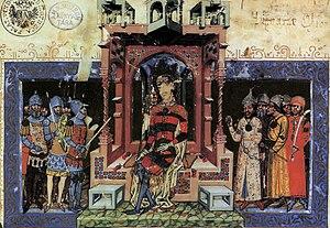 Nicholas Kont - Nicholas Kont among the court dignitaries with Louis I (Chronicon Pictum)