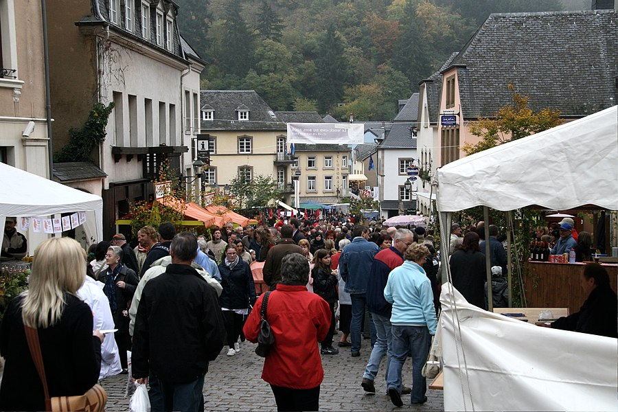 Crowd at walnut-fair in Vianden, Luxembourg