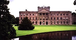 Giacomo Leoni - Lyme Park, Cheshire designed by Giacomo Leoni. The original Tudor mansion was transformed by Leoni into an Italian palazzo. The design was altered by English architect Lewis Wyatt's 19th century addition of the box-like structure surrounding the centre pediment. This squat tower is in place of Leoni's intended cupola.
