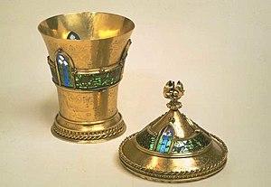 Plique-à-jour - The Mérode Cup, the surviving medieval piece in plique-à-jour, c. 1400