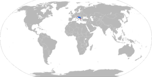M-77 Oganj - Map with M-77 operators in blue and former operators in red.