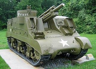 M7 Priest American self-propelled artillery vehicle