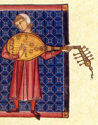 Mandolin - A European lute player from the Cantigas de Santa Maria, late 13th century. Two varieties of soundholes are present in the image. The squiggly lines on the soundboard, looking like a 3 or W, were a characteristic of Muslim-constructed instruments.