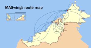 MASwings - MASwings domestic route map. The single international route to Tarakan is not shown in the map