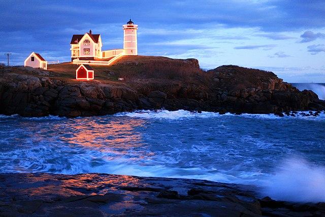 Neddick Island Light at Christmas Time