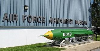 Air Force Armament Museum - GBU-43/B Massive Ordnance Air Blast (MOAB) weapon on display at the Air Force Armament Museum.