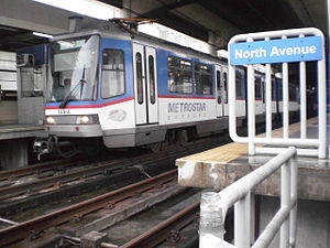 Manila Metro Rail Transit System - North Avenue station platform area and train Tatra RT8D5