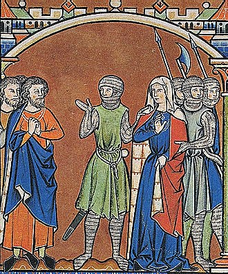 Abner - Illustration from the Morgan Bible of Abner (in green) taking Michal away from Paltiel.