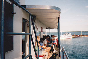 La Pointe, Wisconsin - Passengers on the Madeline Island Ferry boat, awaiting their arrival to the Island.