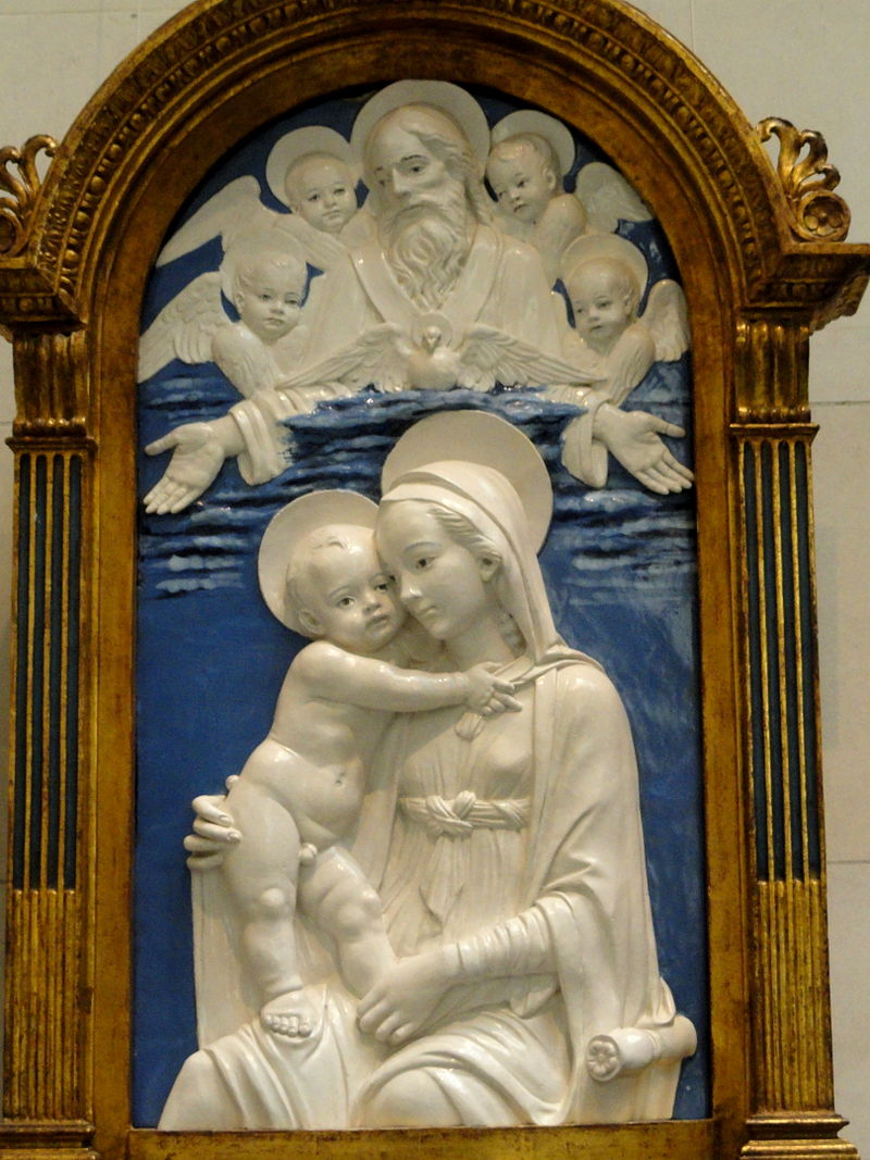 Madonna and Child with God the Father and Cherubim, workshop of Andrea della Robbia, c. 1480, glazed terra cotta - National Gallery of Art, Washington - DSC08822.JPG