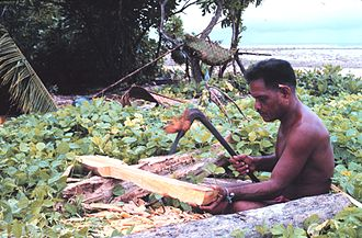 A Micronesian of Tobi, Palau is making a paddle for his wa with an adze. Making paddle with adze, Tobi, Western Caroline Islands, Micronesia.jpg