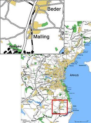 Beder-Malling, Denmark - Image: Malling placering relativ til aarhus