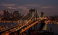 Manhattan Bridge in New York City in the dark.jpg