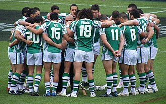 New Zealand Māori rugby league team - New Zealand Maori pre-match huddle before their clash with the Indigenous Dreamtime team before the start of the 2008 World Cup