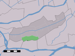 The village centre (dark green) and the statistical district (light green) of Wijngaarden in the former municipality of Graafstroom.