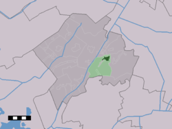 The town centre (dark green) and the statistical district (light green) of Dwingeloo in the municipality of Westerveld.