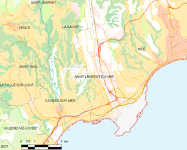 Mapa obce Saint-Laurent-du-Var