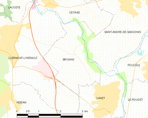 Brignac, Hérault - Map