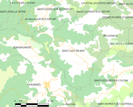 Mapa obce Saint-Just-en-Bas