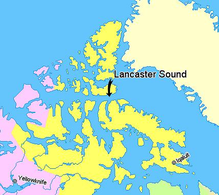 Map indicating Lancaster Sound, Nunavut, Canada