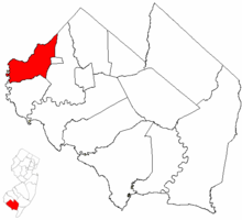 Stow Creek Township highlighted in Cumberland County. Inset map: Cumberland County highlighted in the State of New Jersey.