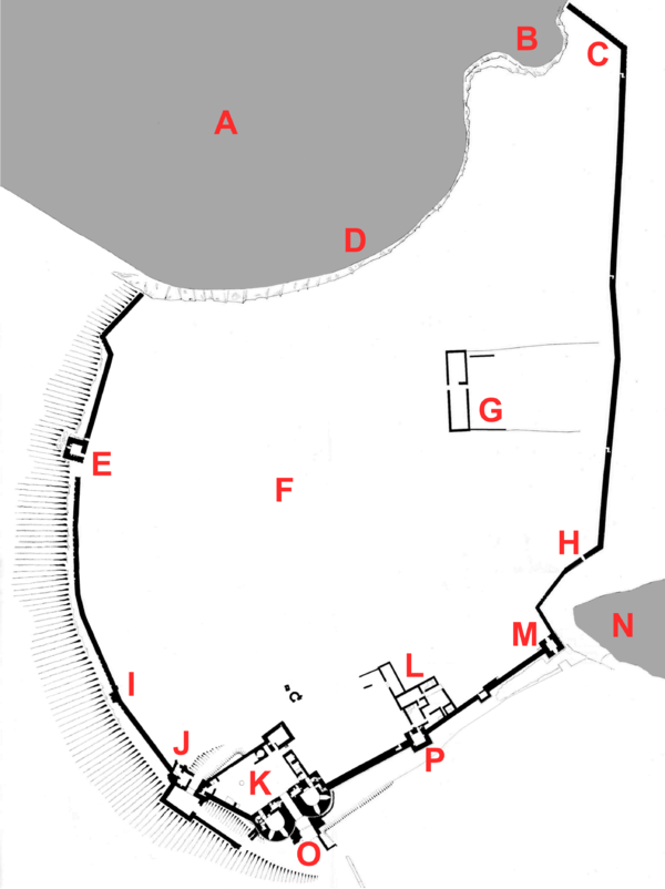 Plan of the castle: A - North Sea; B - Rumbling Churn; C - gateway to Castle Point; D - Gull Crag; E - Lilburn Tower; F - Outer bailey; G - Grange; H - Postern Gate; I - Huggam's House; J - John of Gaunt's Gatehouse; K - Inner bailey; L - Constable's House; M - Egyncleugh Tower; N - Queen Margaret's Cove; O - Great Gatehouse; P - Constable's Tower Map of Dunstanburgh Castle.png