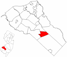 Clayton Borough highlighted in Gloucester County. Inset map: Gloucester County highlighted in the State of New Jersey.