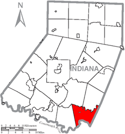 Map of Indiana County, Pennsylvania Highlighting East Whitfield Township