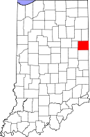 Map of Indiana highlighting Jay County