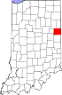 State map highlighting Jay County